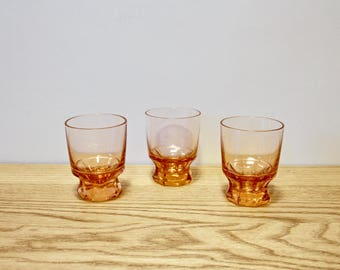 Set of three tinted glass shooters - France - 1950
