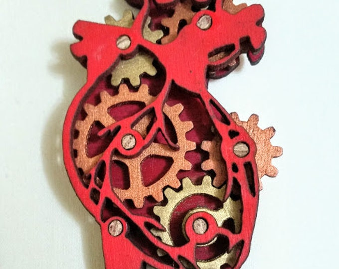 Steampunk Mechanical Heart Pendant with Kinetic Moving Gears!