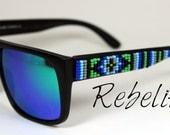 Vente de lunettes de soleil perles bleu vert lunette