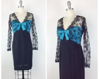 60s Teal Satin & Black Lace Cocktail Dress / 1960s Vintage SAKS FIFTH AVENUE Wiggle Party Dress / Medium / Size 8