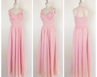 40s Pink Floor Length Gown / 194s Vintage Maxi Dress With Cut Out Back / Medium / Size 6