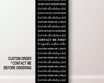 12x36 CANVAS or PRINT Custom Song Lyrics  or Poem  Subway Art POSTER Typography Print Gift - Contact Me Before Ordering -