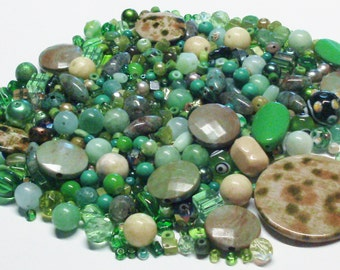 Destash Mixed Lot of Beads in Shades of Green 7.3 Oz.