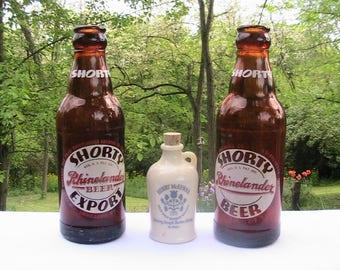Beer Bottles, Bourbon Jug, Bottles and Bourbon Jug, Shorty's Beer Henry McKenna Bourbon Jug