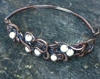 Renaissance antique copper and howlite beaded wire wrapped bracelet, hook closure