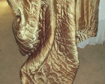 Vintage Hollywood Glam Liquid Satin Taupe Gold Satin Quilt,Blanket,Throw,Spread