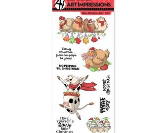Merry DAIRY CHRISTMAS stamps Clear Stamp by Art Impressions  4789 cc22