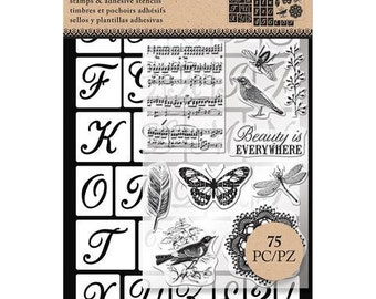 Art-C SCRIPT ALPHA  Stamp & Adhesive Stencil set butterfly stamp music stamp bird stamp Beauty is Everywhere cc02