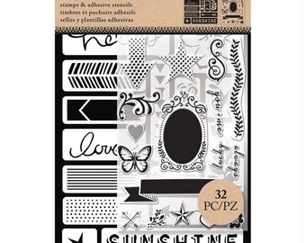 Art-C WORDS & ICONS Stamp and Adhesive Stencil set Butterfly nature live simply 26880 - NEW 1.cc02