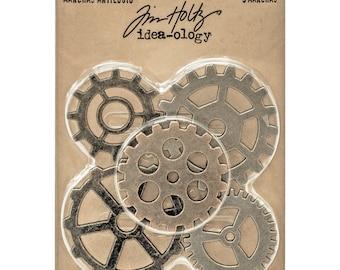 "Tim Holtz Idea-ology GADGET GEARS 1.5"" - 1 7/8"" metal embellishments 5.cc1x"