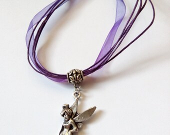 fairy angel organza cord picture pendant necklace
