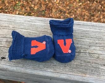 Virginia Cavaliers baby booties 0-3 months