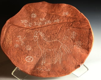 Orange/Ceramic Plate/Bowl, Native American Rock Drawings/Handmade, Fine Art, SouthWest, Home Decor OOAK,