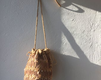 Woven Burlap Drawstring Bag With Beading / Made in India / Seventies 1970s 70s / O/S