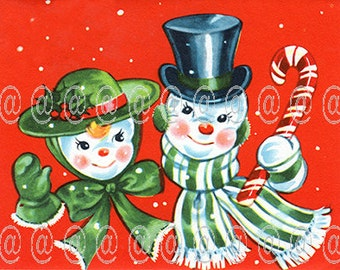 Digital download vintage Christmas card, snowman couple with candy cane, hats, scarves