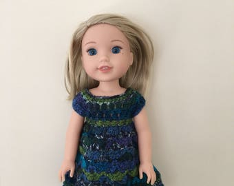 "Doll dress for 14.5"" doll such as American Girl Wellie Wishers. Handmade, crocheted"