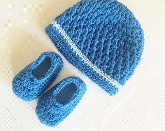 Baby X-Stitch Beanie Hat & Slip-On Booties Set - 0 to 3 Months, 3 to 6 Months, 6 to 12 Months - Any Color - Baby Girl, Baby Boy