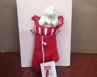 Red Mittens Collection, Sleepy Bunny Christmas Ornament