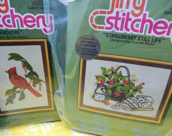 """Cardinal and Strawberry Still Life Crewel Embroidery Stitchery Kit by Jiffy 1970""""s Vintage 5"""" x7""""  1970's Sold Individually"""