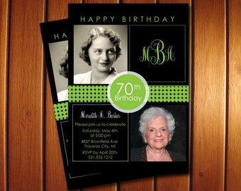 2 Photo Birthday Invitation - Adult Birthday Party Invitation Cards