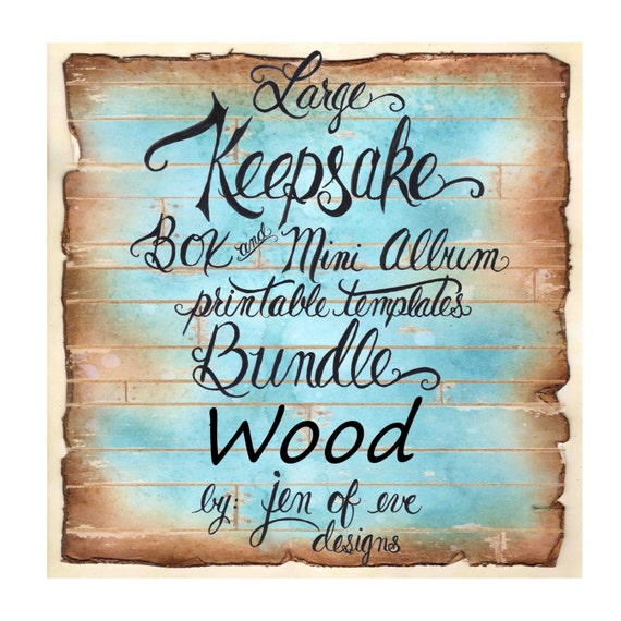 LARGE Keepsake Box & Mini Album Printable Template in WOOD Plank and Plain