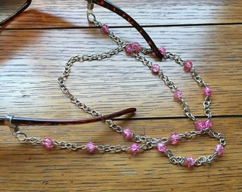 Eyeglasses Chain. Pink. Silver chain.