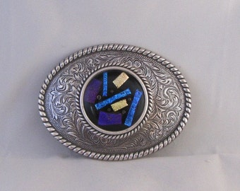 Large Western Belt Buckle with Dichoric Fused Glass Insert Cabochon
