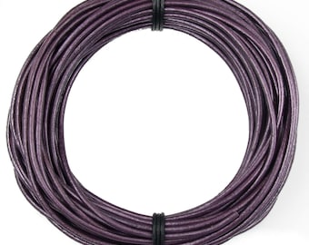Berry Metallic Round Leather Cord 2mm 10 Feet