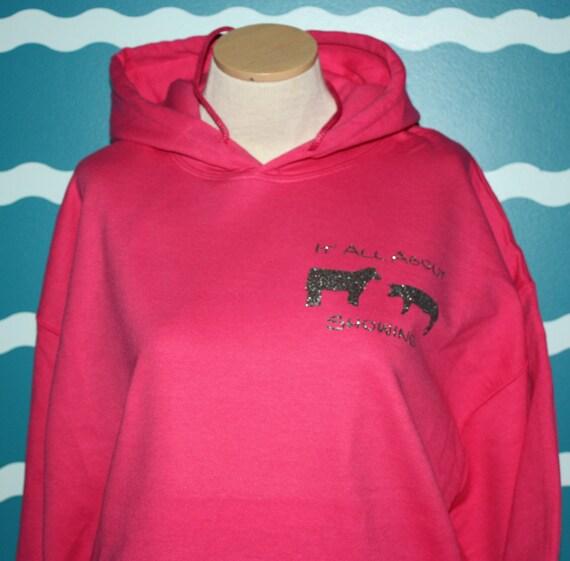 Show cattle hooded sweatshirt - Livestock show girl hoodie sweatshirt - show steer and hog sweatshirt - Livestock show sweatshirt