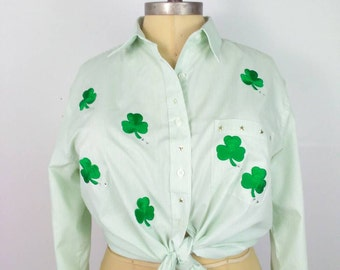 LADY LUCK Las Olas Shamrock Vintage Rockabilly Pinup Girl Clothing St. Patrick's Day Long Sleeve Blouse Size XL