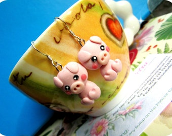 Little Pink Pig Kawaii Earrings Polymer Clay