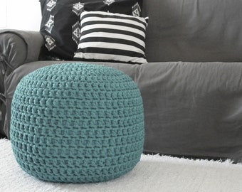 Teal Pouf-Ottoman Chair-Footstool-Pouf Ottoman-Glider Foot Pouf-Nursery Ottoman Pillow-Crochet Floor Pouf-Floor Cushion-Knit Floor Pillow