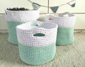Nursery Storage Baskets Bin Storage Baskets Baby Shower Gifts Knitted  Baskets Toy