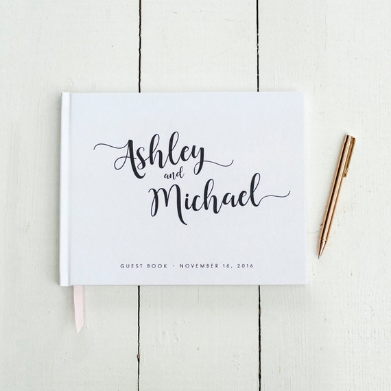 Wedding Guest Book horizontal landscape guestbook sign in book photo booth hardcover personalized names wedding planner book black pages new
