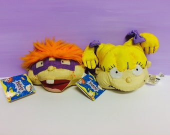 Rugrats Plush, 1990s Nickelodeon, Angelica Pickles, Chuckie Finster, 90s Cartoon Tv Show, Rugrats Bean Bags, Chuckie and Angelica, Vintage