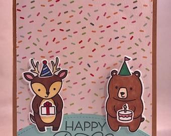 Reindeer and Bear Happy Birthday