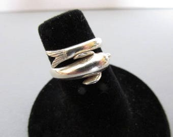 Vintage Ring, Sterling Silver Ring, Dolphin Ring, Aquatic Ring, Hallmarked Ring, Collectible Jewelry