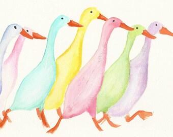 Seven Little Ducks A4 original painting by Lesley Ann