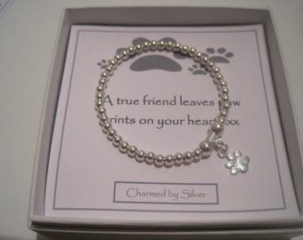 Sterling Silver Dog Paw Print Charm stretch bead Bracelet - a perfect gift for a dog lover