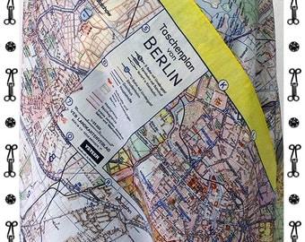BERLIN Map SCARF, Silk, Cotton, card, plan, G.D.R., communism, Scarves, Shawls, digital print, 1960 years, Mauerbau, berlin plan, Pionier