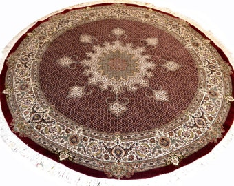 Round Persian Rug Fish Design Deep Red 7x7 feet Wool & Silk