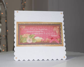 A Mother Holds her children's Hand for a while, their hearts forever 3d Decoupaged card