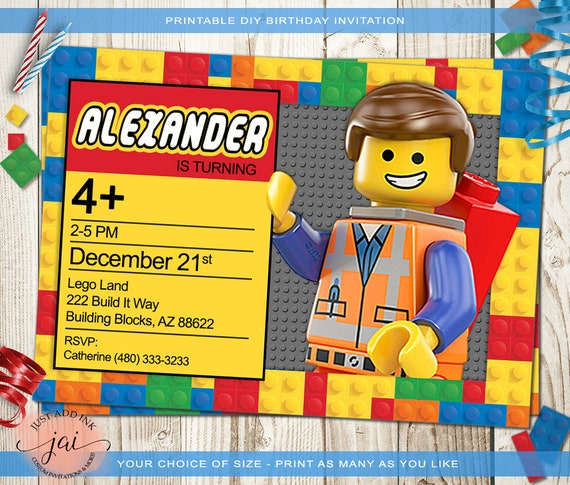 Personalized Lego Birthday Invitation Party