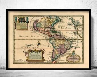 Old Map America Antique 1717