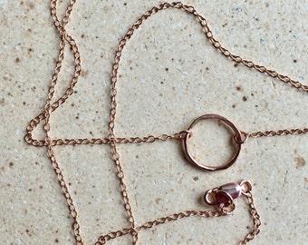 14K Rose GF ring necklace - rose gold ring - ring necklace - rose gold filled - circle necklace - dainty necklace - karma necklace