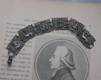 French antique military silver mother of pearl filigree dog crown flower lys lion royal coat of arms brass based metal bracelet