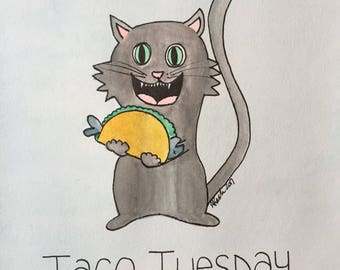 Taco Tuesday Cat with Taco Watercolor Painting