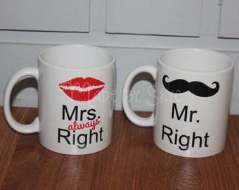 Set of Mr & Mrs Always Right 11oz coffee mugs