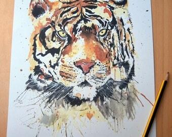 A4 Watercolour Tiger Print
