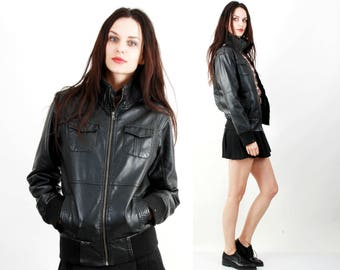 Pilot Jacket / Faux Leather Jacket / Black Leather Jacket / Short Jacket / Fitted Jacket Size S